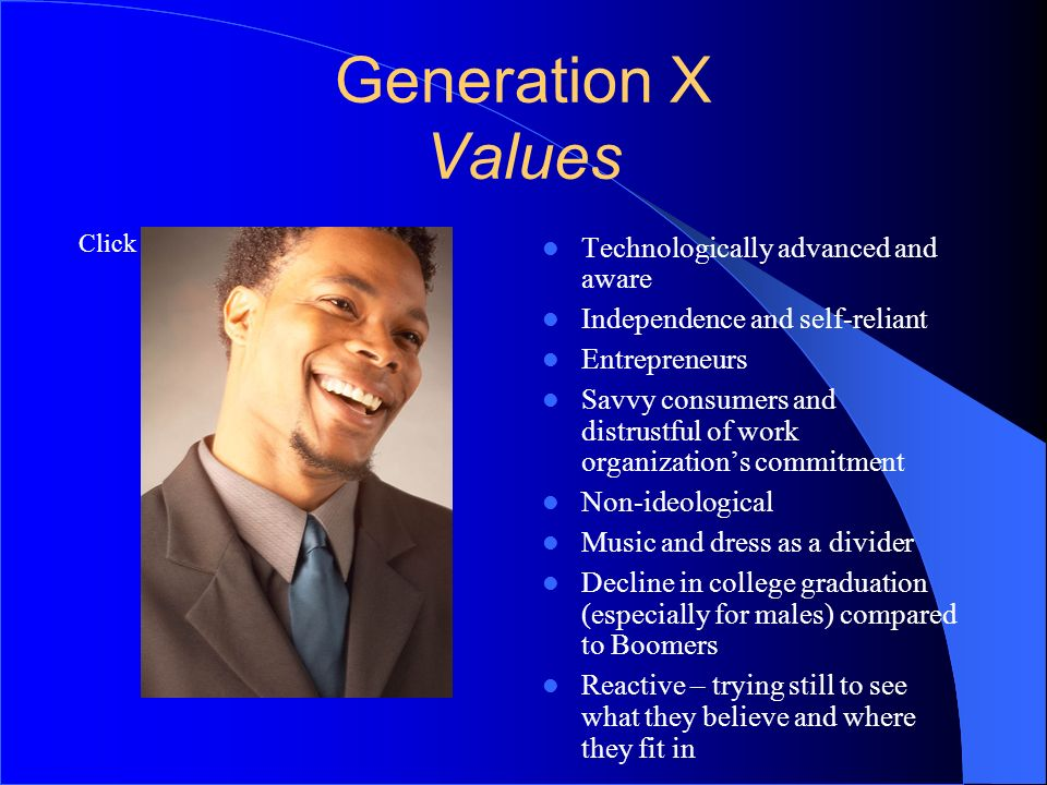 Generation X Values 5050 Technologically advanced and aware