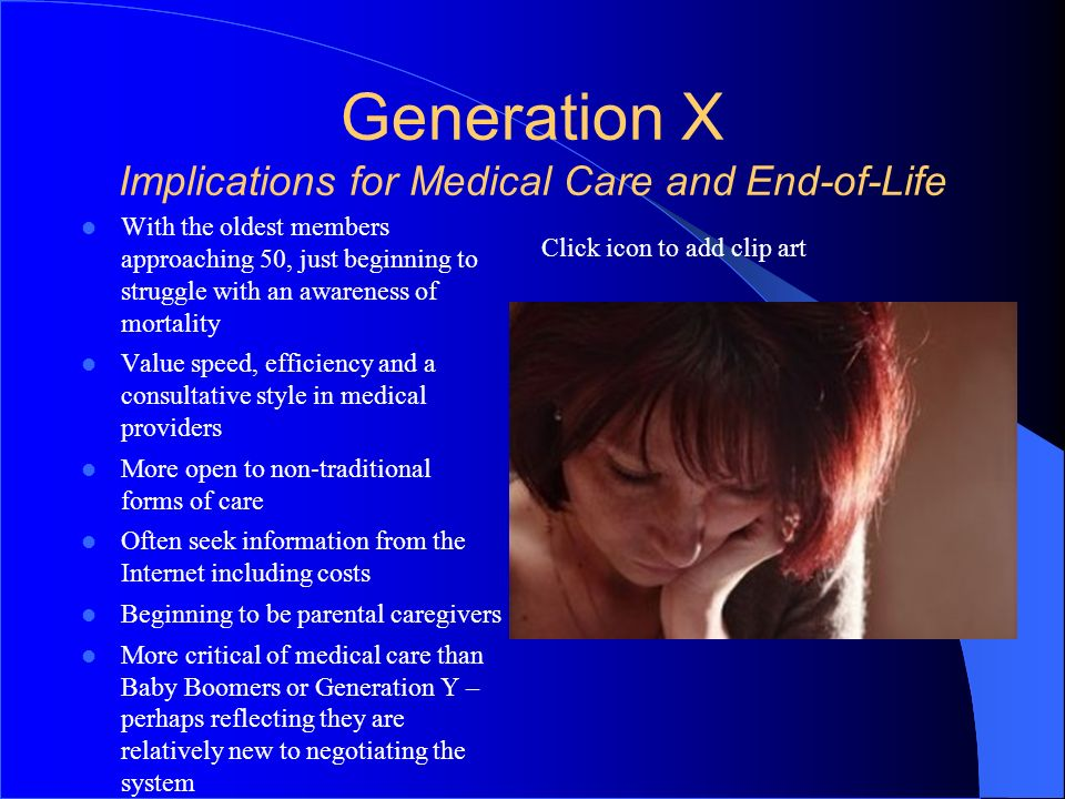 Generation X Implications for Medical Care and End-of-Life