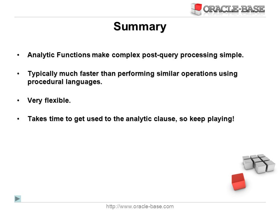 Summary Analytic Functions make complex post-query processing simple.