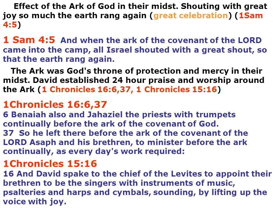 Effect of the Ark of God in their midst