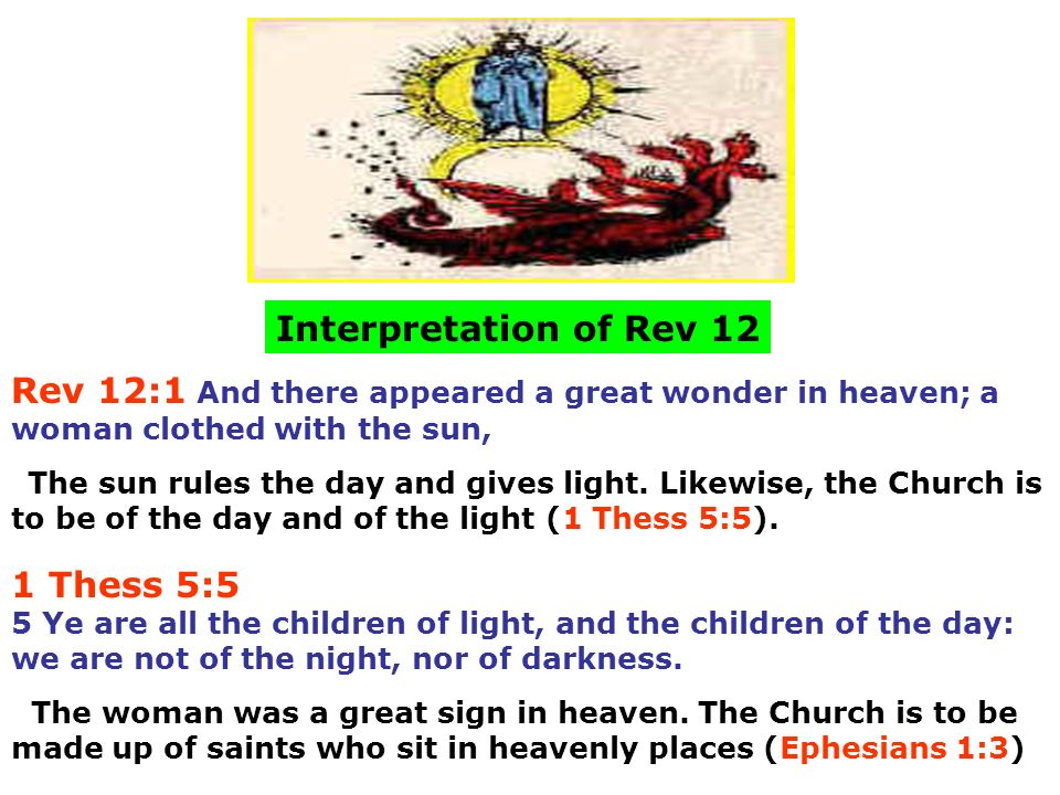 Interpretation of Rev 12 Rev 12:1 And there appeared a great wonder in heaven; a woman clothed with the sun,