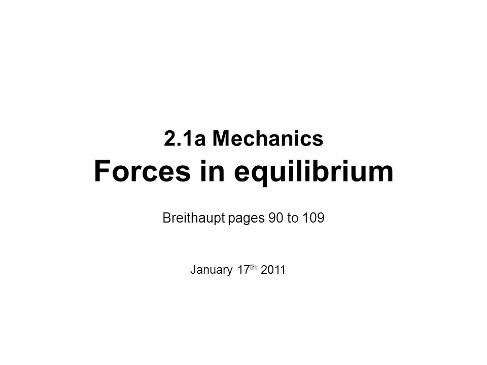 2.1a Mechanics Forces in equilibrium