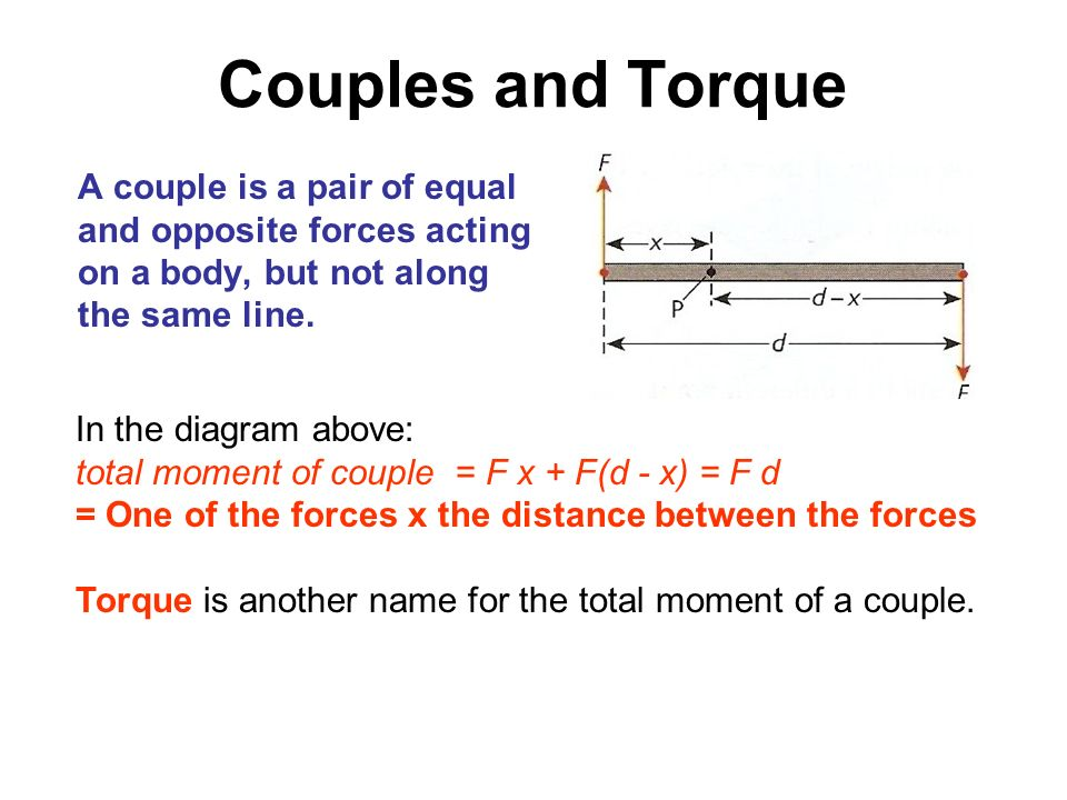 Couples and Torque A couple is a pair of equal and opposite forces acting on a body, but not along the same line.