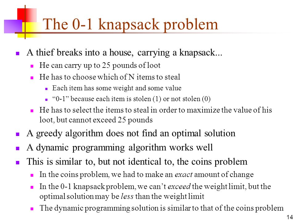 The 0-1 knapsack problem A thief breaks into a house, carrying a knapsack... He can carry up to 25 pounds of loot.