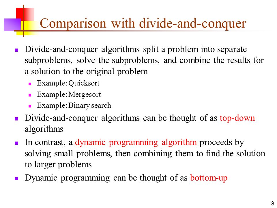 Comparison with divide-and-conquer