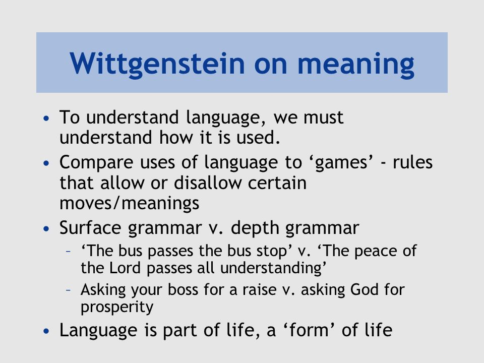Wittgenstein on meaning