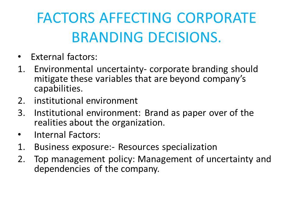 FACTORS AFFECTING CORPORATE BRANDING DECISIONS.