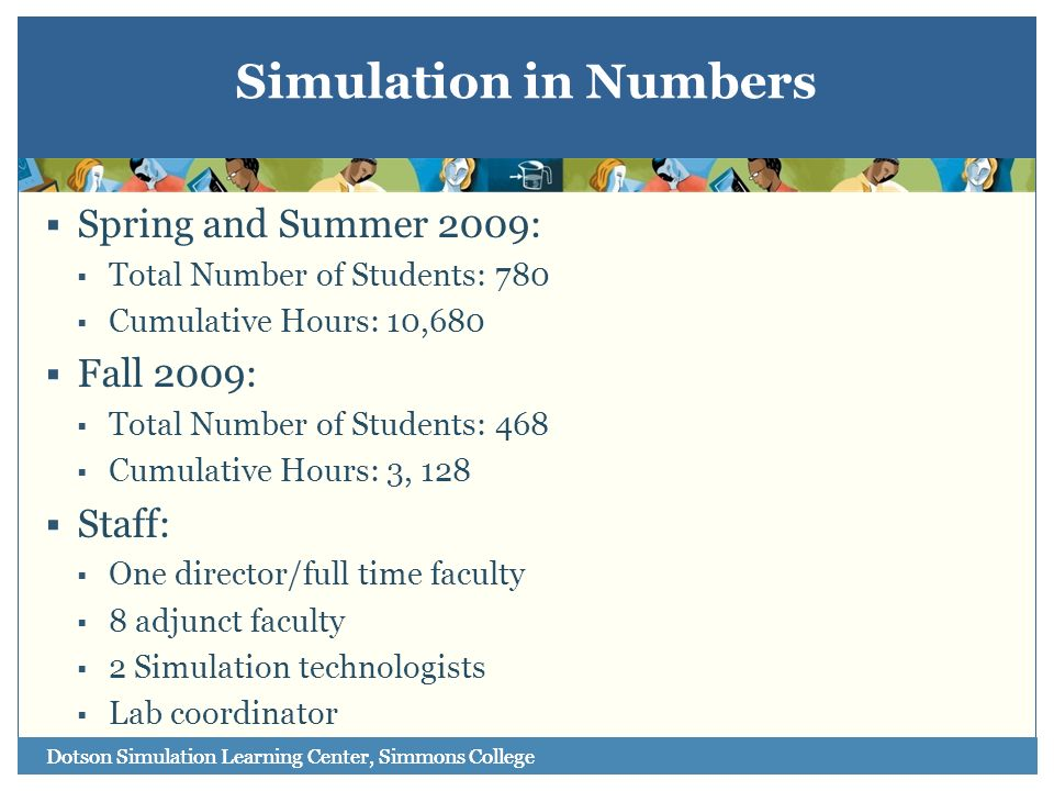 Simulation in Numbers Spring and Summer 2009: Fall 2009: Staff: