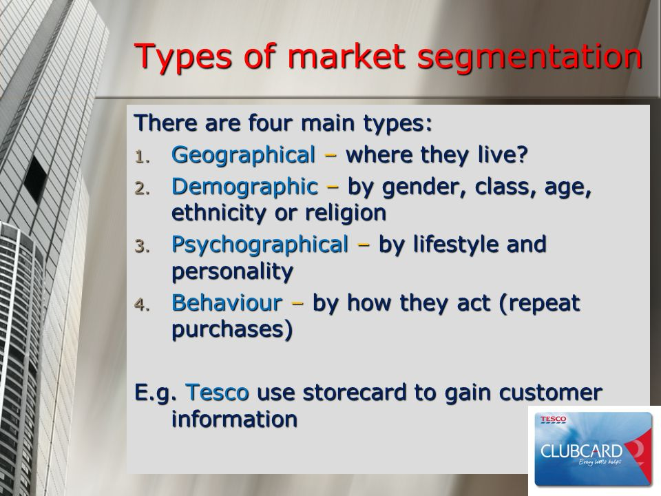 Types of market segmentation