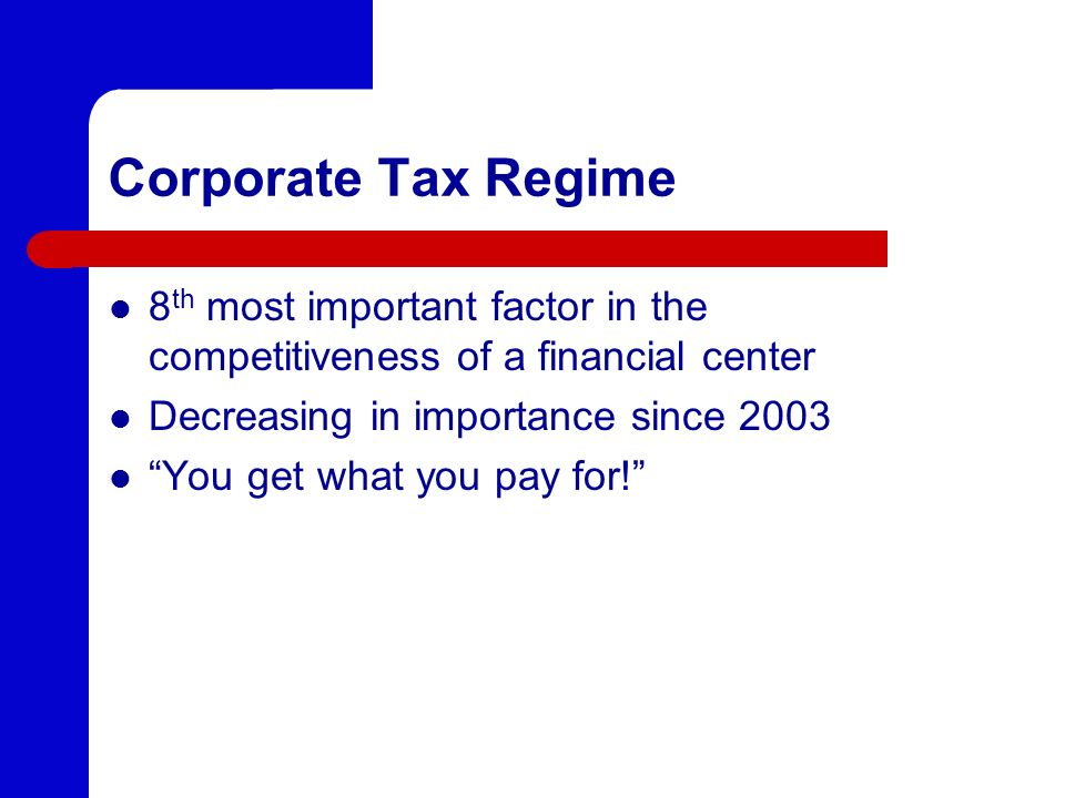 Corporate Tax Regime 8th most important factor in the competitiveness of a financial center. Decreasing in importance since 2003.