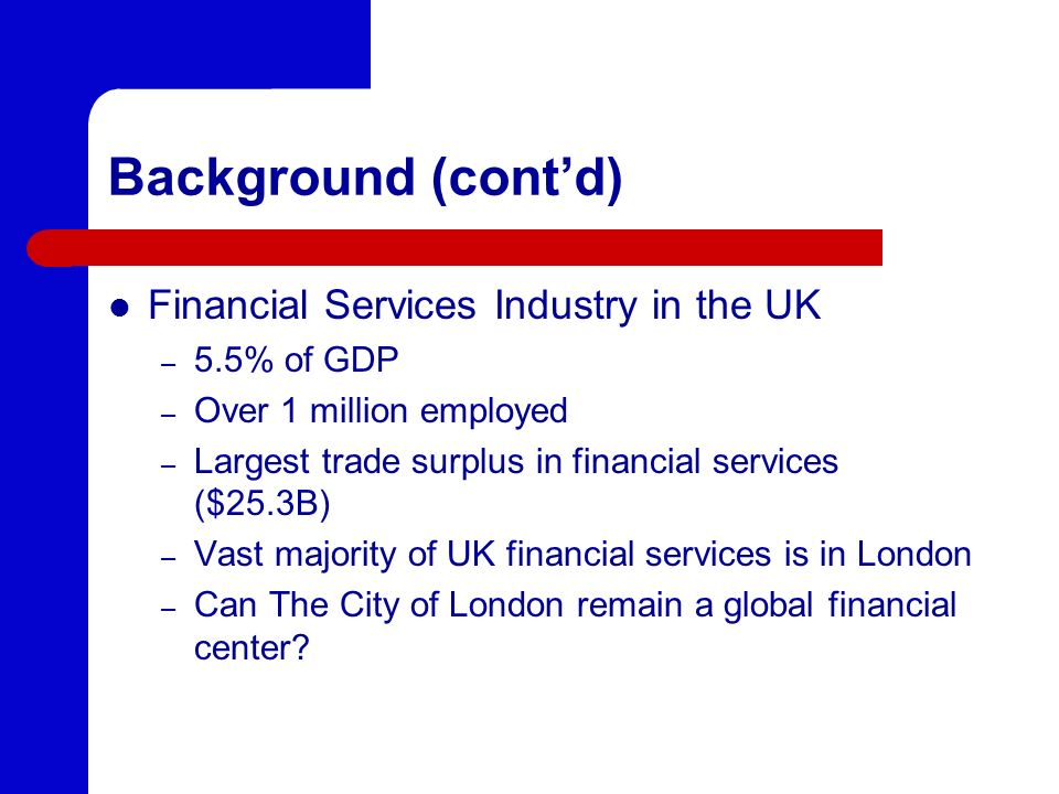 Background (cont'd) Financial Services Industry in the UK 5.5% of GDP