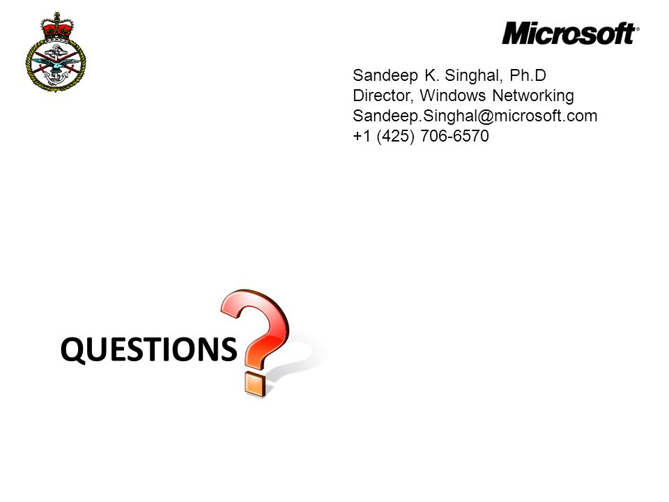 Questions Sandeep K. Singhal, Ph.D Director, Windows Networking