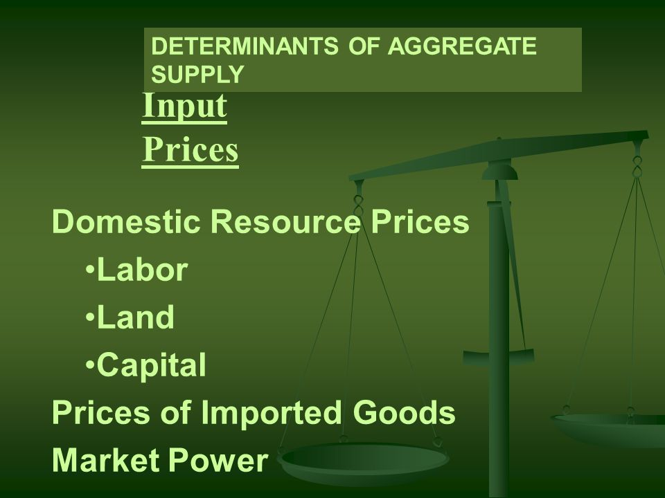 Input Prices Domestic Resource Prices Labor Land Capital