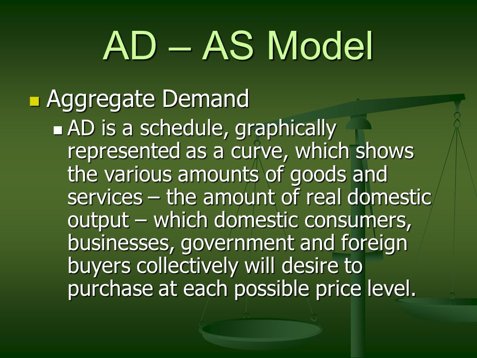 AD – AS Model Aggregate Demand