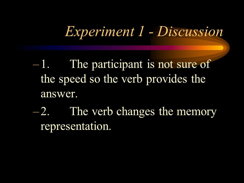 Experiment 1 - Discussion