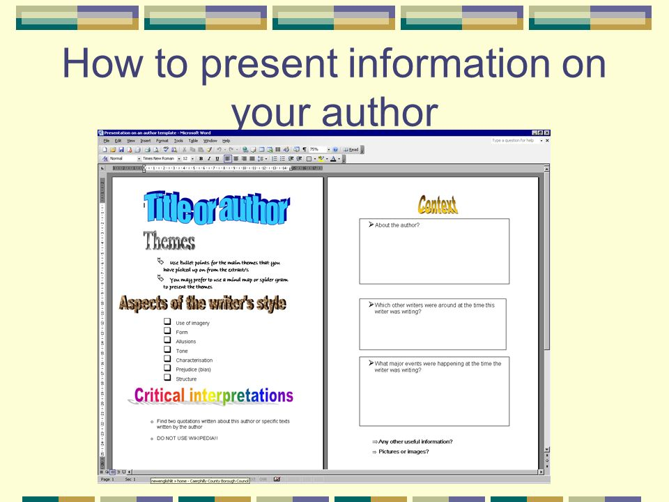 How to present information on your author