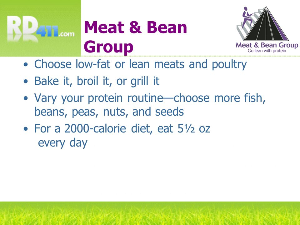Meat & Bean Group Choose low-fat or lean meats and poultry