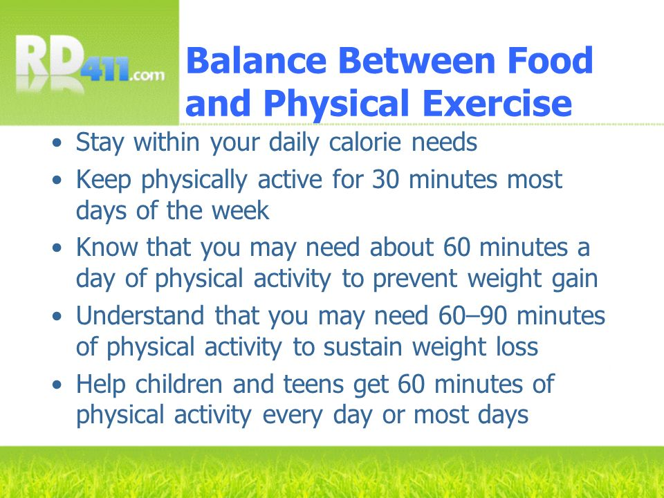 Balance Between Food and Physical Exercise