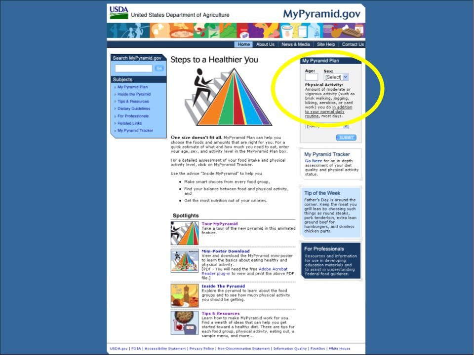 Visit www.mypyramid.gov to get the portions of the different foods groups specific to your age, gender, and activity level.