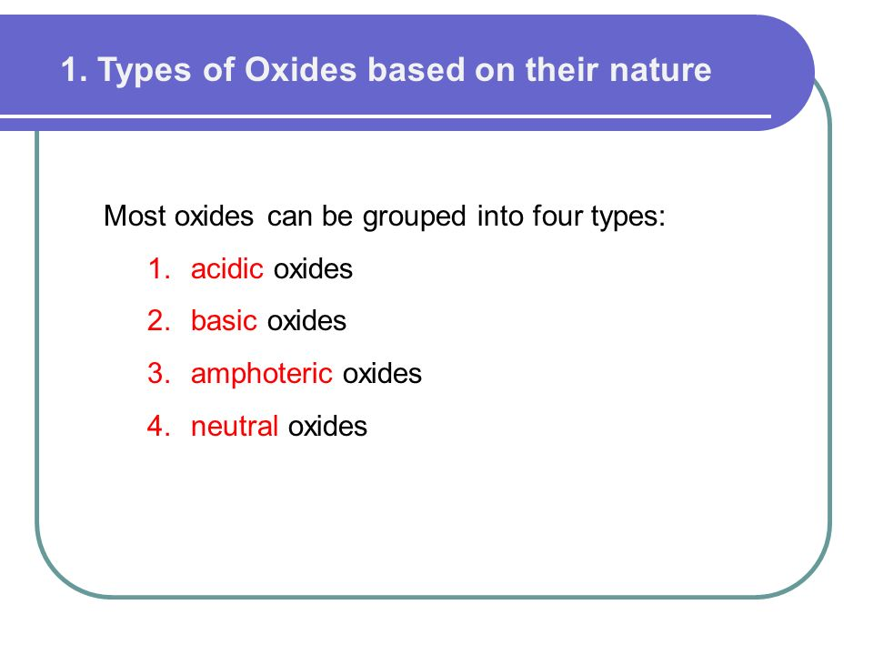 1. Types of Oxides based on their nature