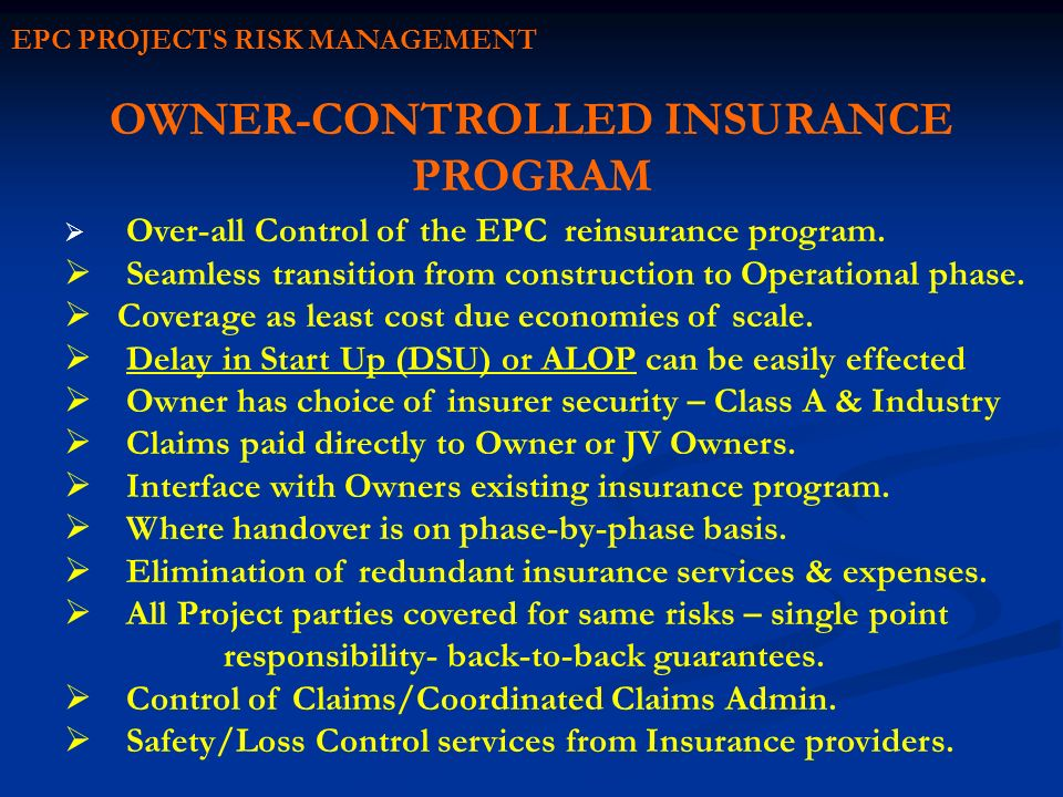 OWNER-CONTROLLED INSURANCE PROGRAM