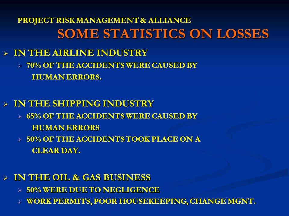 PROJECT RISK MANAGEMENT & ALLIANCE SOME STATISTICS ON LOSSES