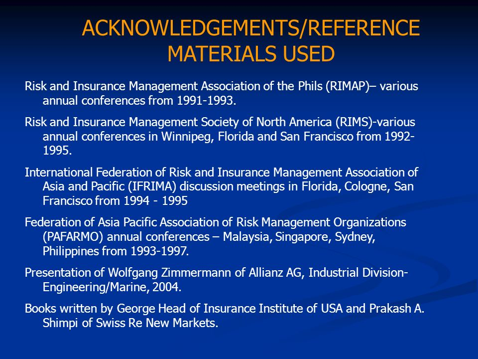 ACKNOWLEDGEMENTS/REFERENCE MATERIALS USED