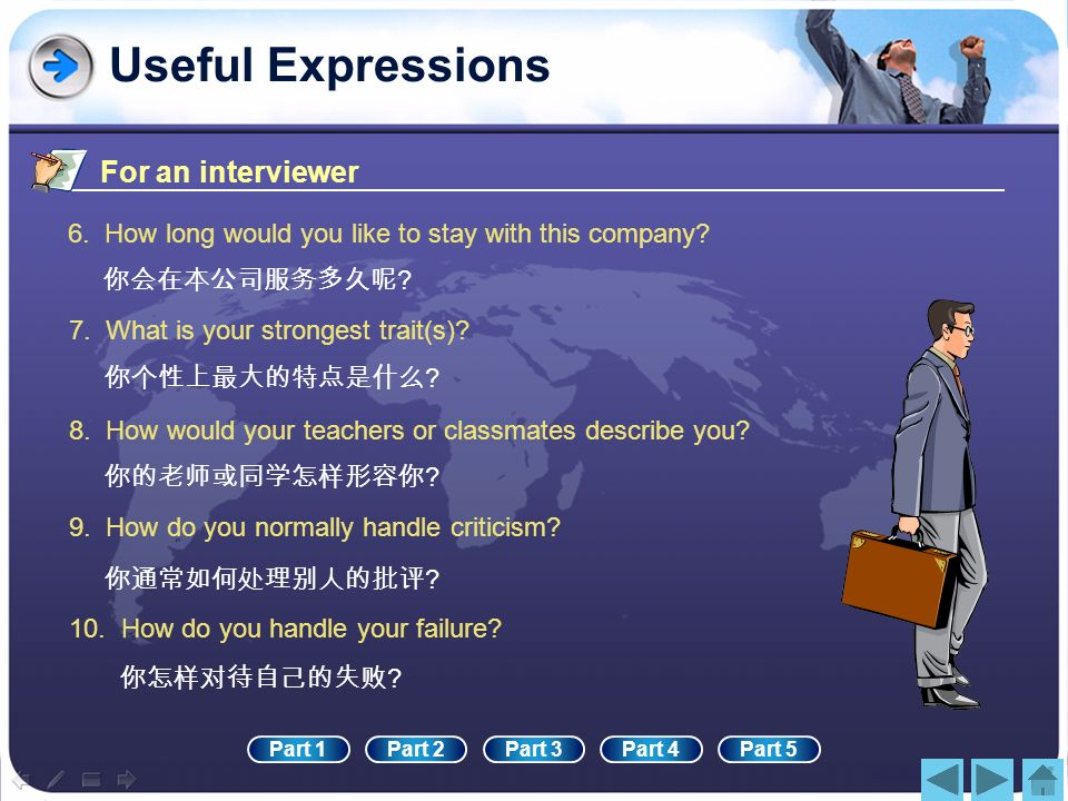 Useful Expressions For an interviewer