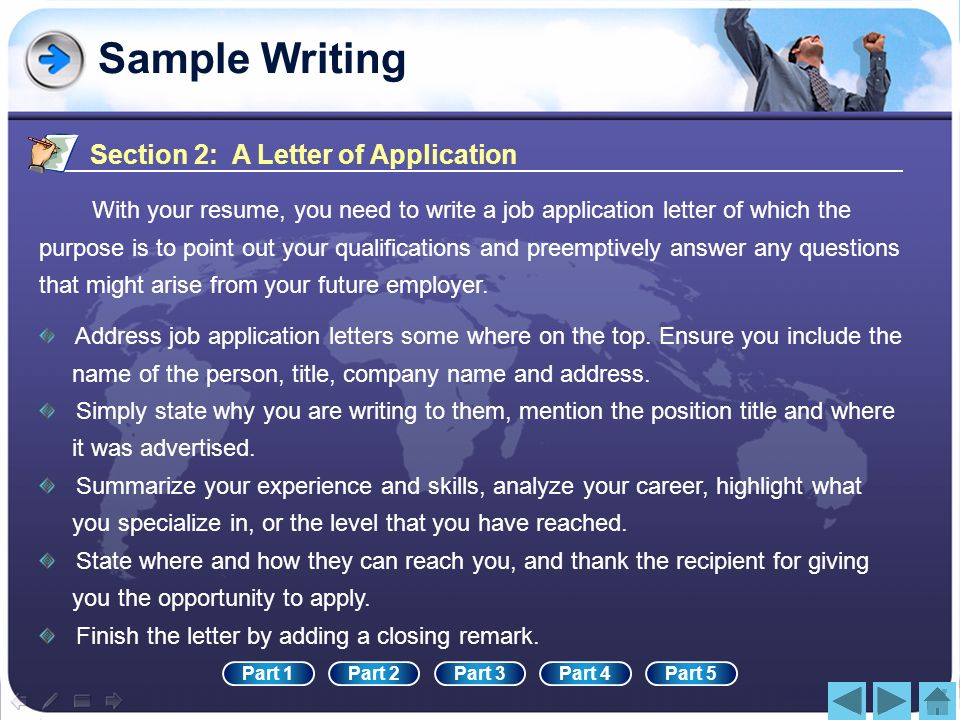 Sample Writing Section 2: A Letter of Application