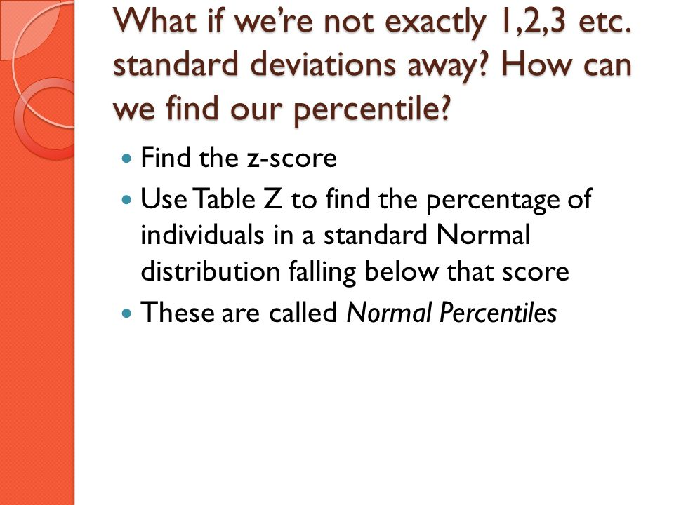What if we're not exactly 1,2,3 etc. standard deviations away