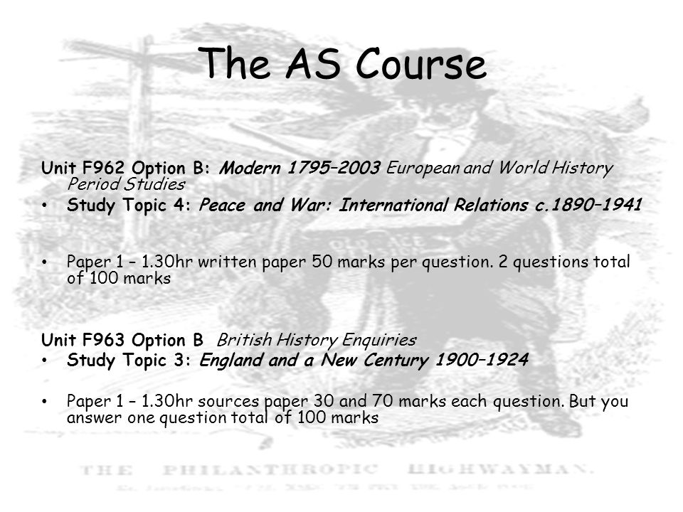 The AS Course Unit F962 Option B: Modern 1795–2003 European and World History Period Studies.