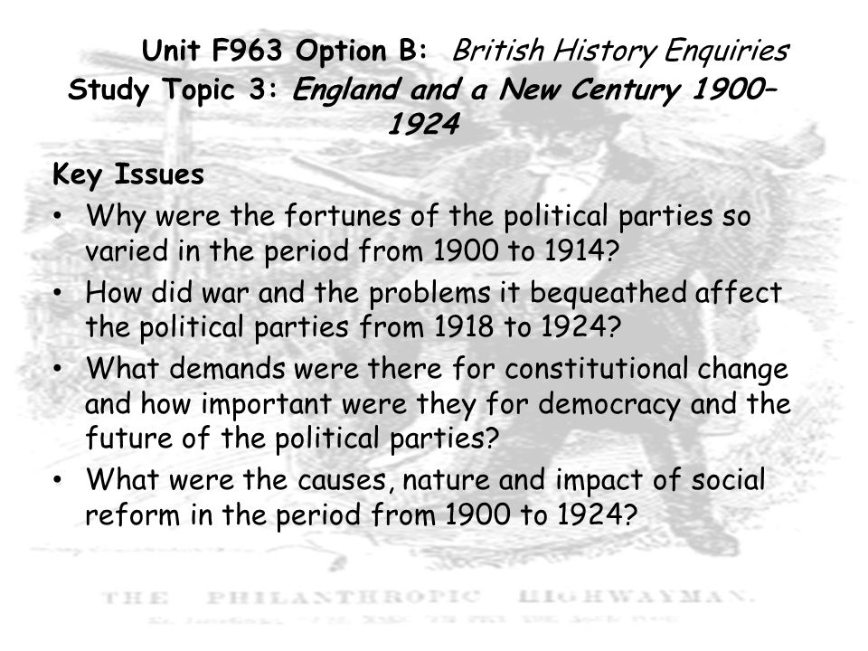Unit F963 Option B: British History Enquiries Study Topic 3: England and a New Century 1900–1924