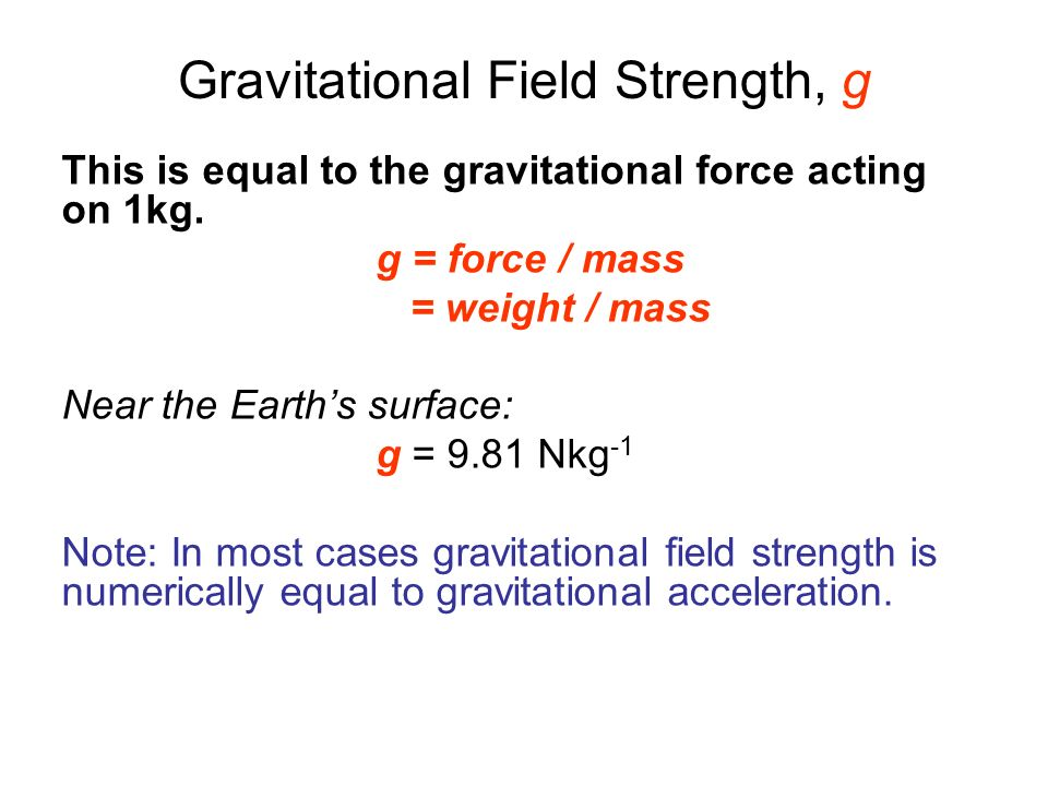 Gravitational Field Strength, g