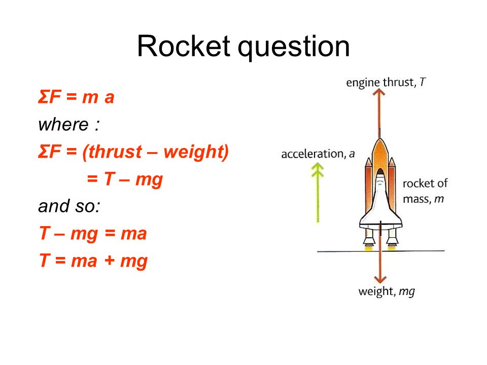 Rocket question ΣF = m a where : ΣF = (thrust – weight) = T – mg
