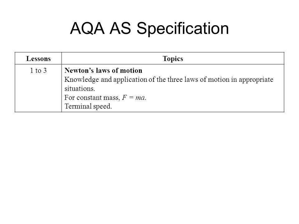AQA AS Specification Lessons Topics 1 to 3 Newton's laws of motion