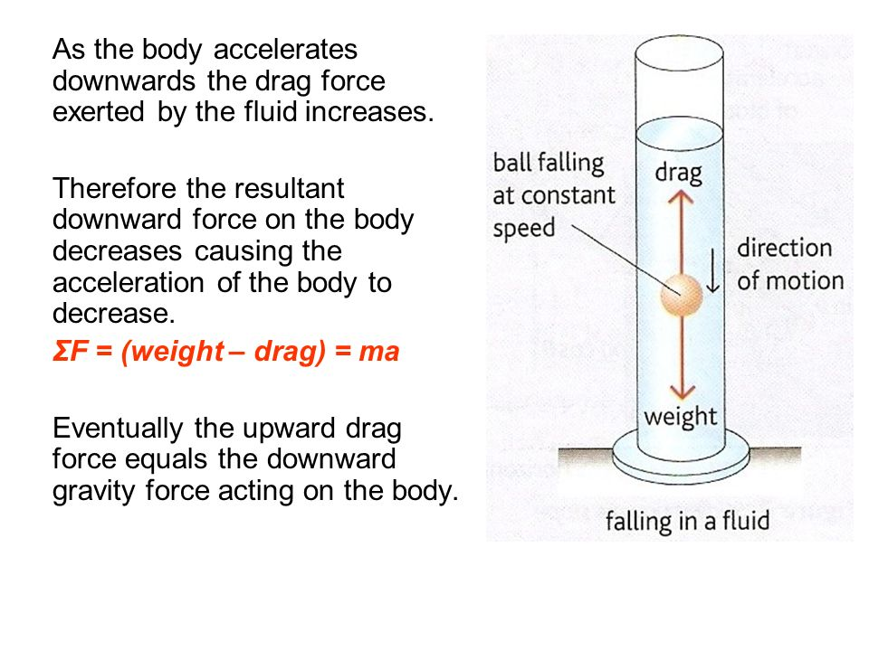 As the body accelerates downwards the drag force exerted by the fluid increases.