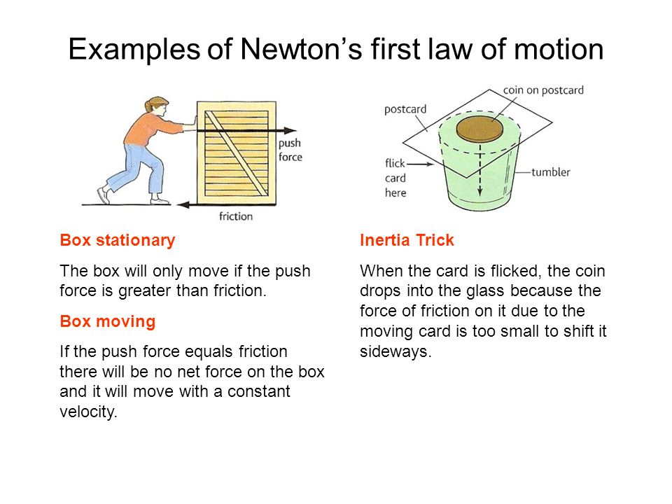 Examples of Newton's first law of motion