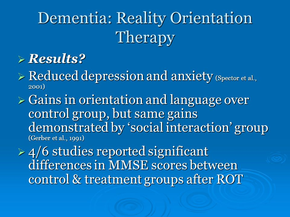 Dementia: Reality Orientation Therapy