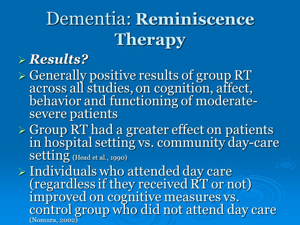 Dementia: Reminiscence Therapy
