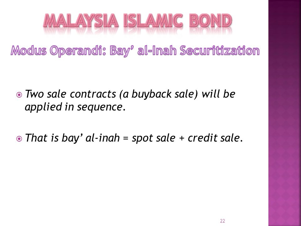Modus Operandi: Bay' al-Inah Securitization