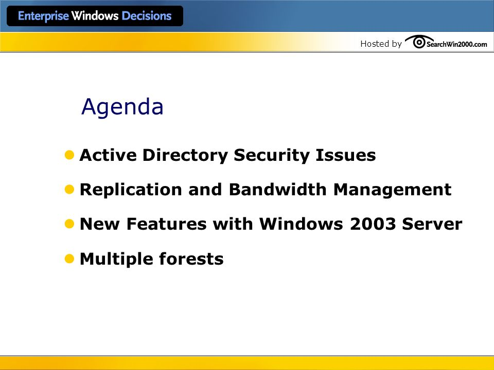Agenda Active Directory Security Issues