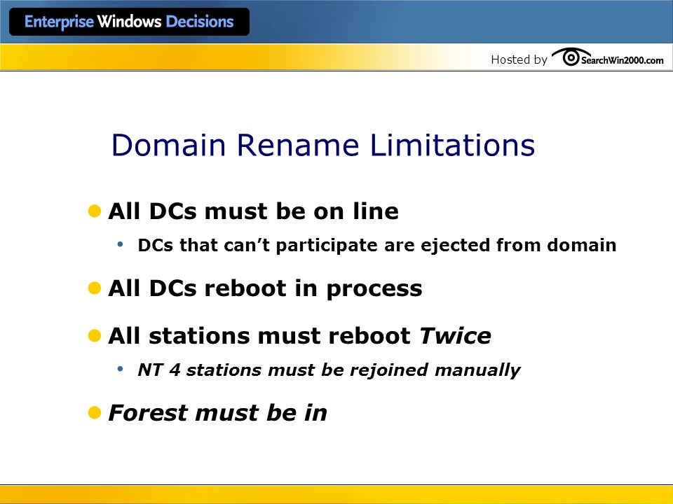 Domain Rename Limitations