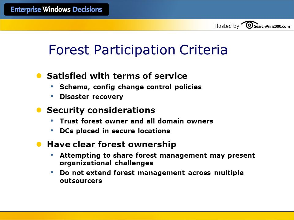 Forest Participation Criteria