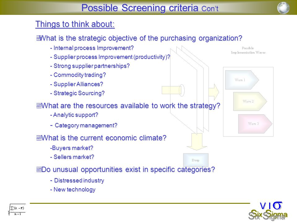 Possible Screening criteria Con't