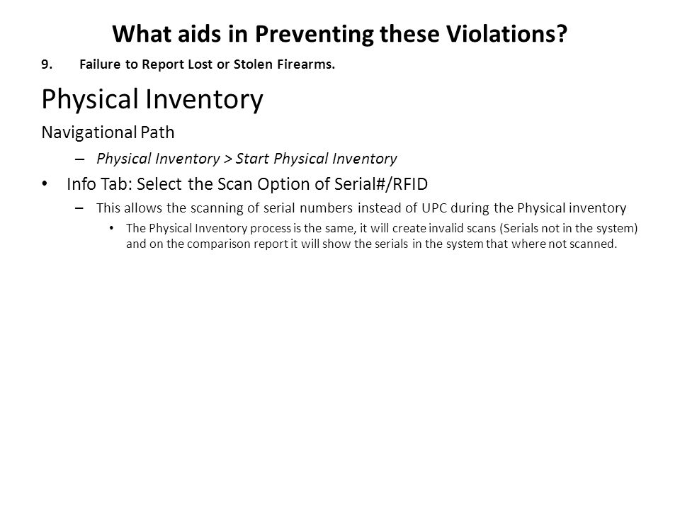 What aids in Preventing these Violations