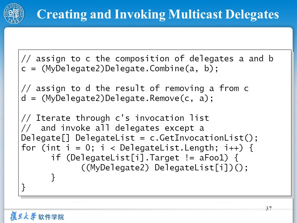 Creating and Invoking Multicast Delegates