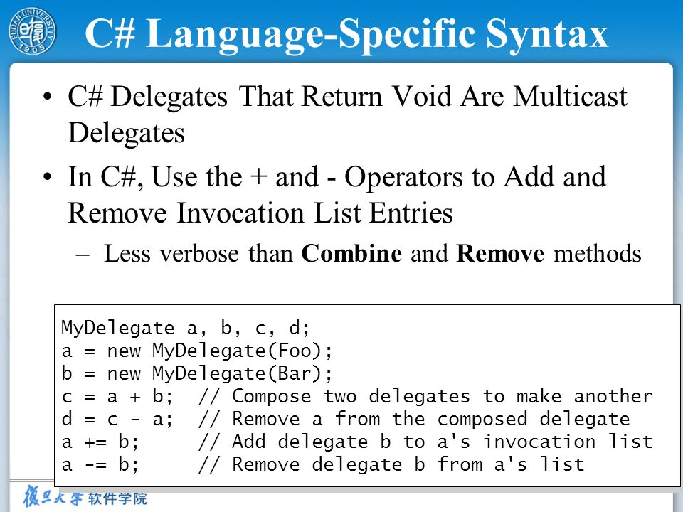 C# Language-Specific Syntax