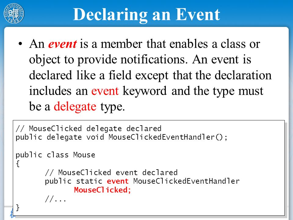 Declaring an Event