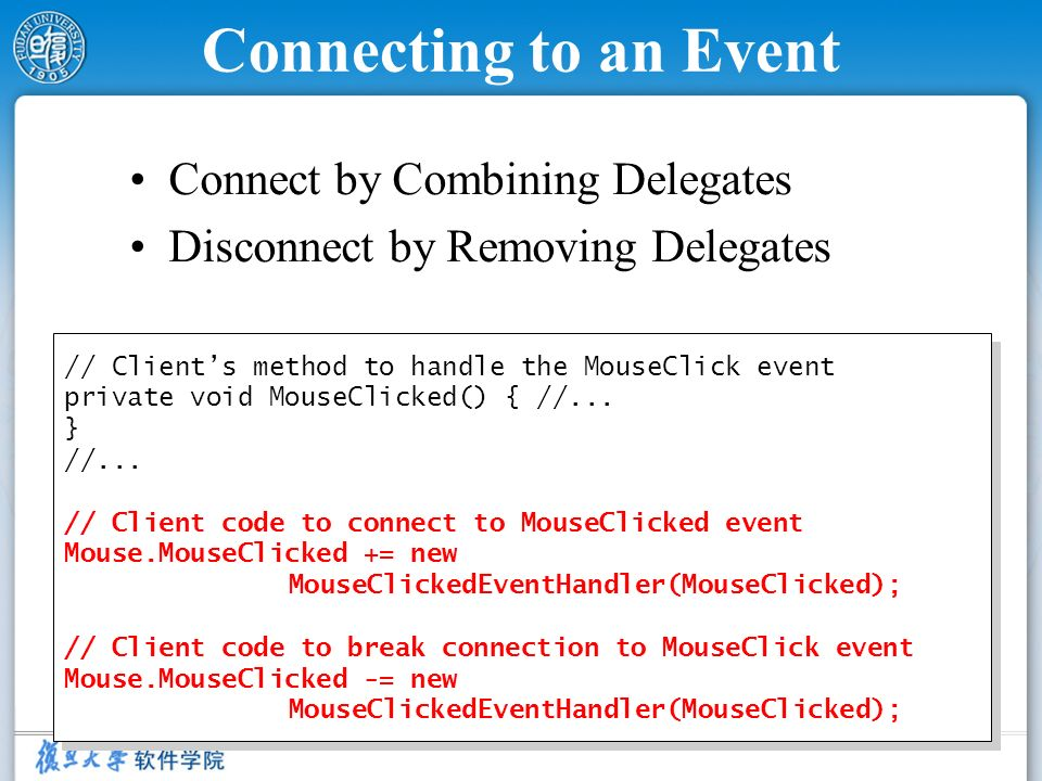 Connecting to an Event Connect by Combining Delegates