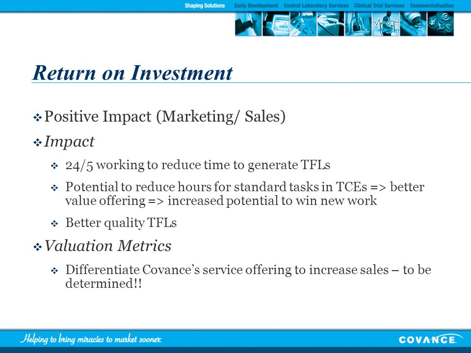 Return on Investment Positive Impact (Marketing/ Sales) Impact